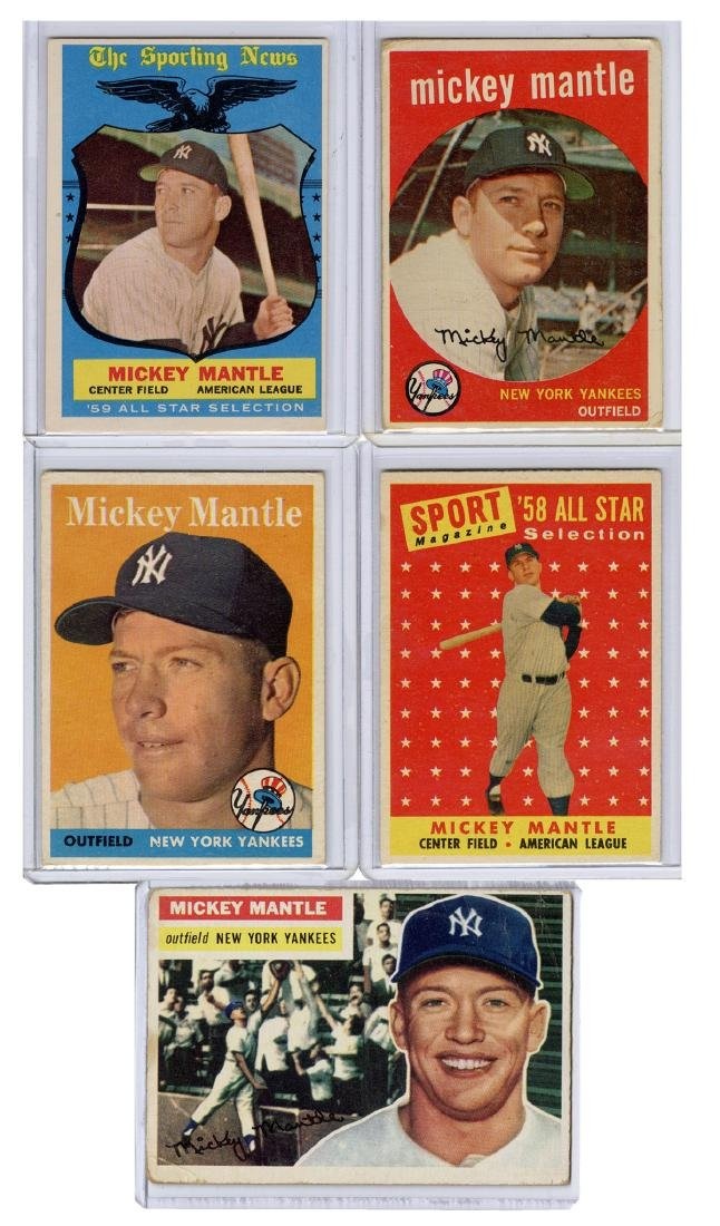 Mickey Mantle 1950s Topps Baseball Card Lot. Including