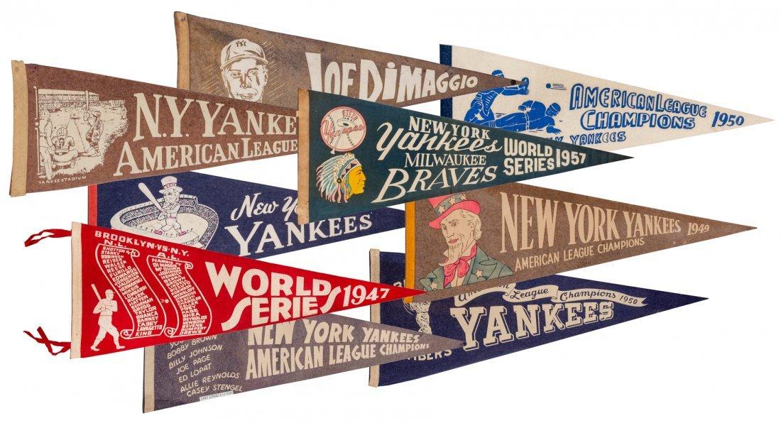 Lot of Nine 1930s—1950s New York Yankees
