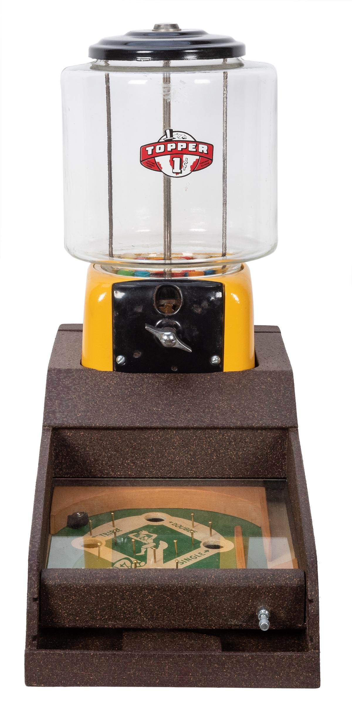 Topper One Cent Gumball Vendor with Baseball Flip Game.