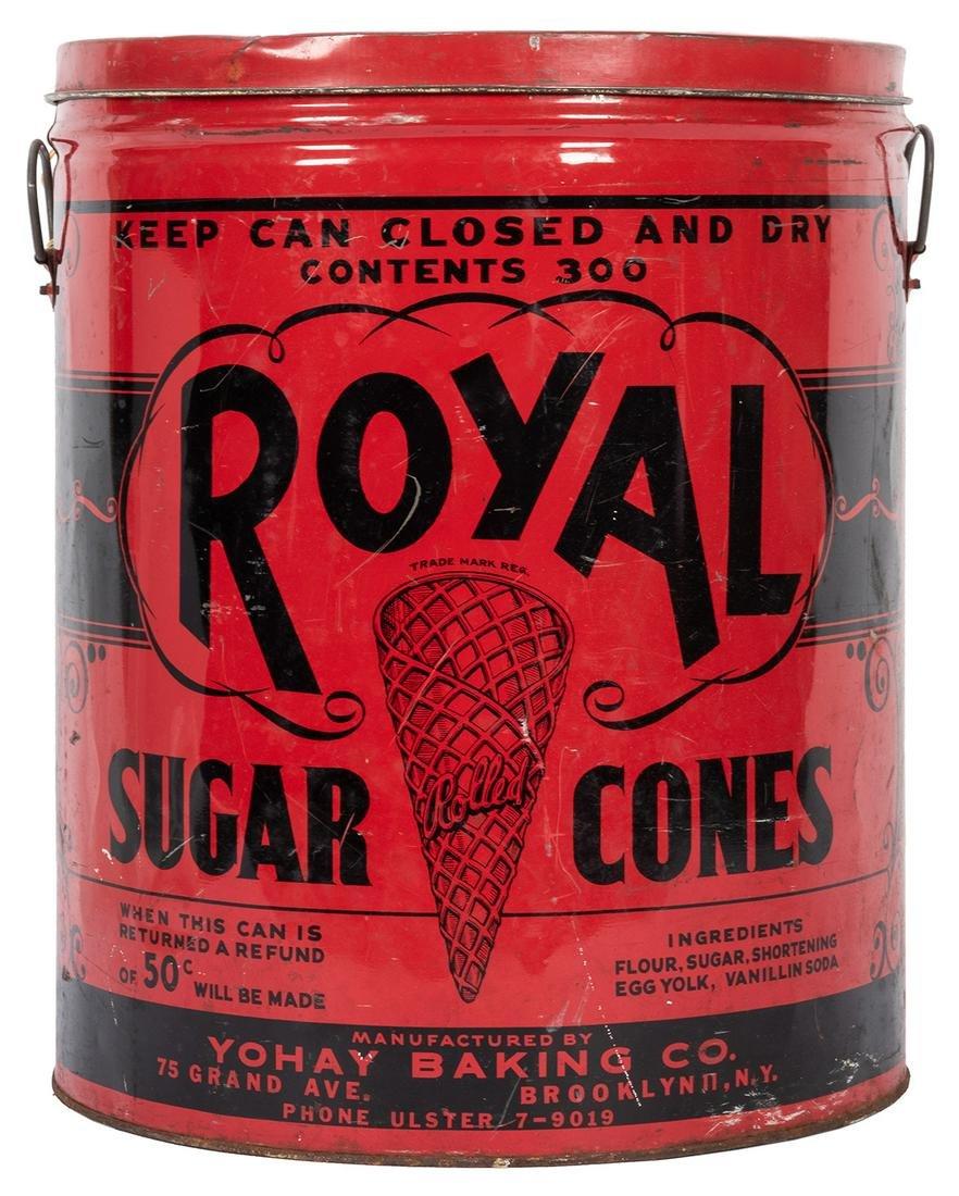 Royal Sugar Cones Large Advertising Tin.
