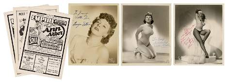 Trio of Burlesque Dancers Signed Photographs, with