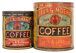 Pair of Chase & Sanborn Coffee Canisters.