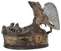 J  E Stevens Eagle  Eaglets Mechanical Cast Iron