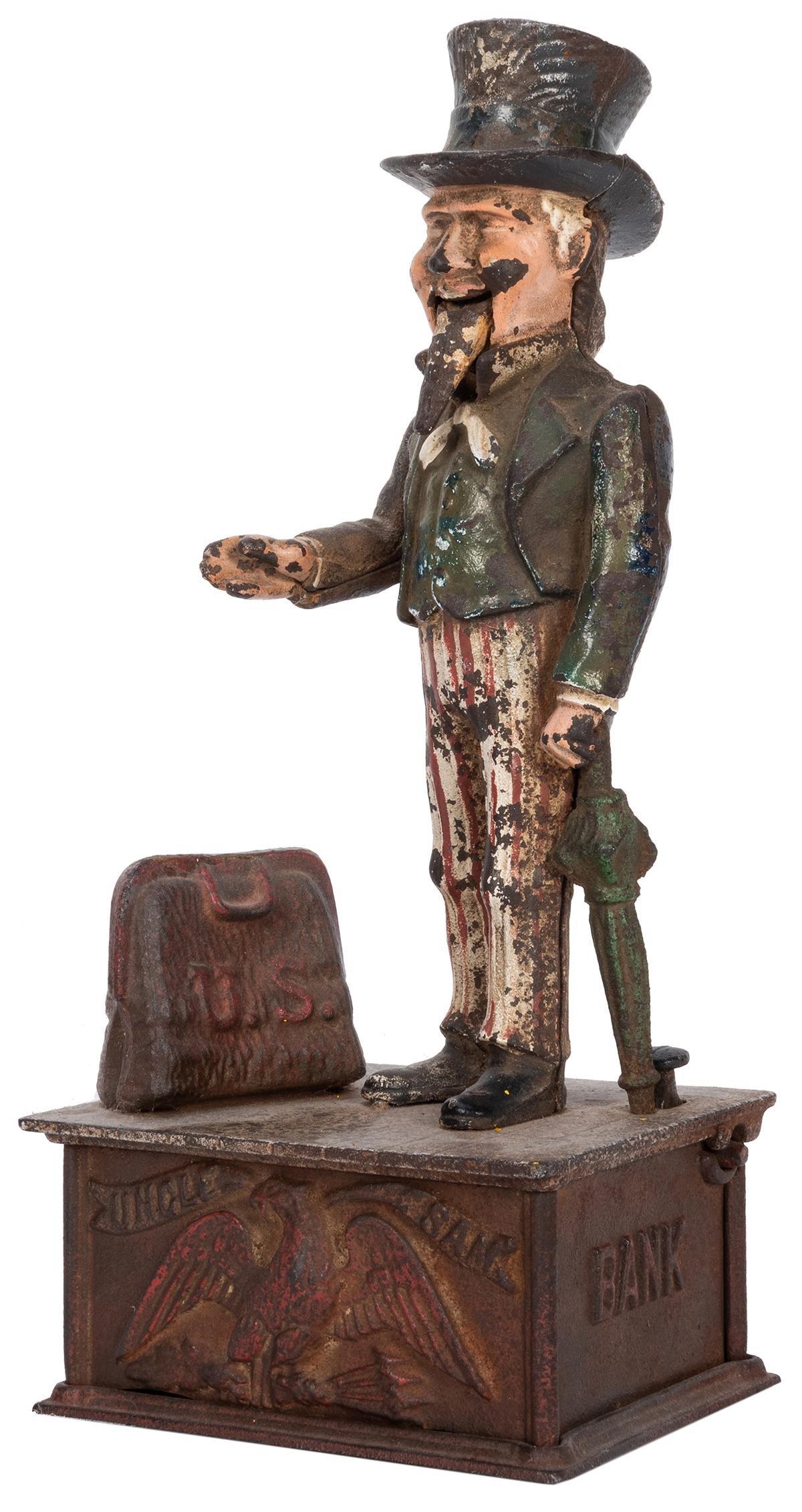 Uncle Sam Mechanical Cast Iron Bank.