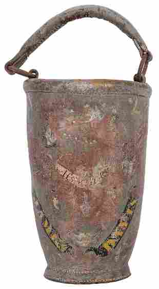 Early 19th Century American Painted Leather Fire
