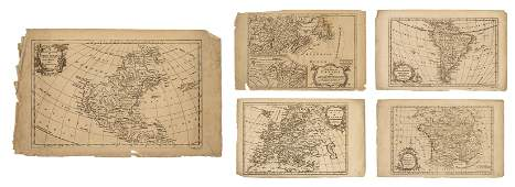 Group of Five Maps Drawn by Vaugondy