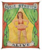 Susie Stretch. Alive. Sideshow Banner.