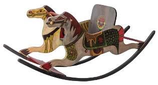 Vintage Folk Art Wooden Rocking Horse.