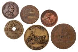 [Tokens] Six Antique and Vintage Circus Tokens and