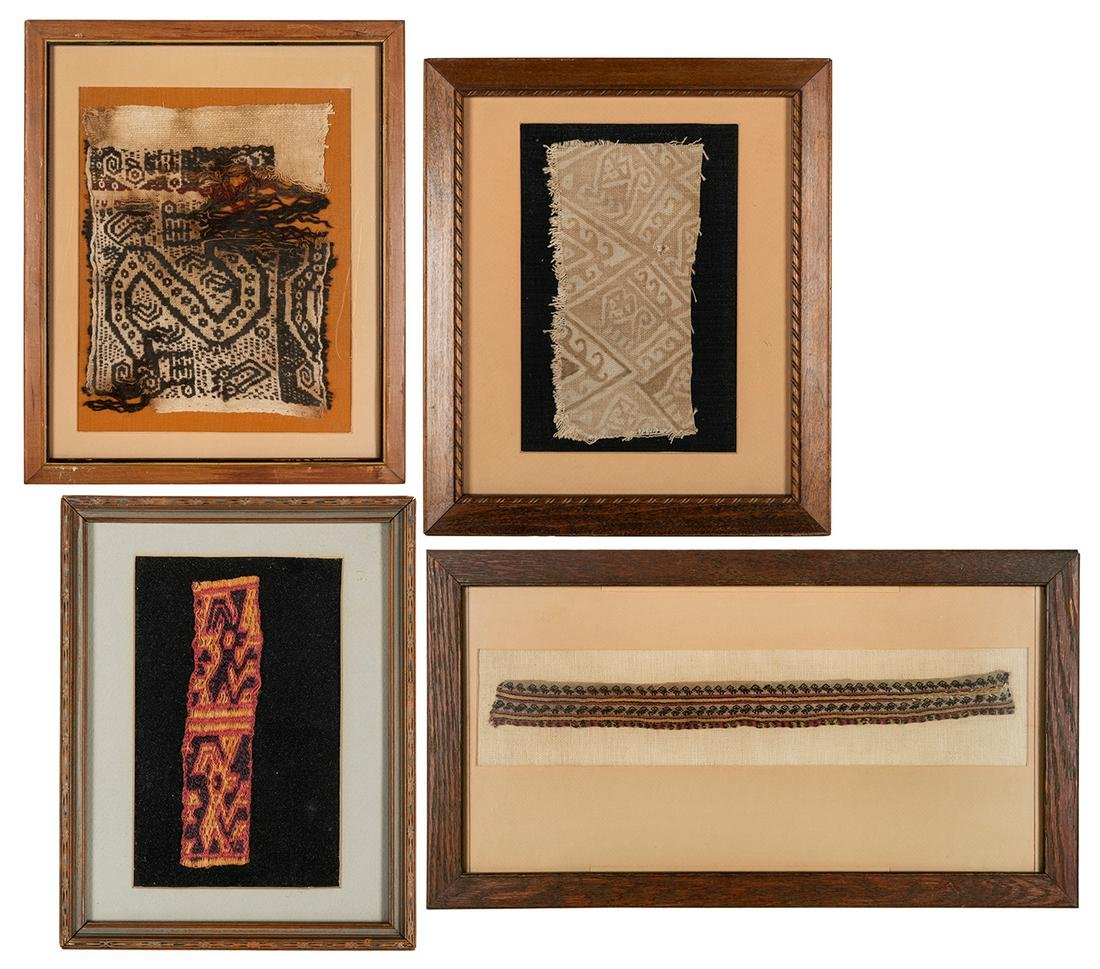 Four Framed Examples of Peruvian Textiles.