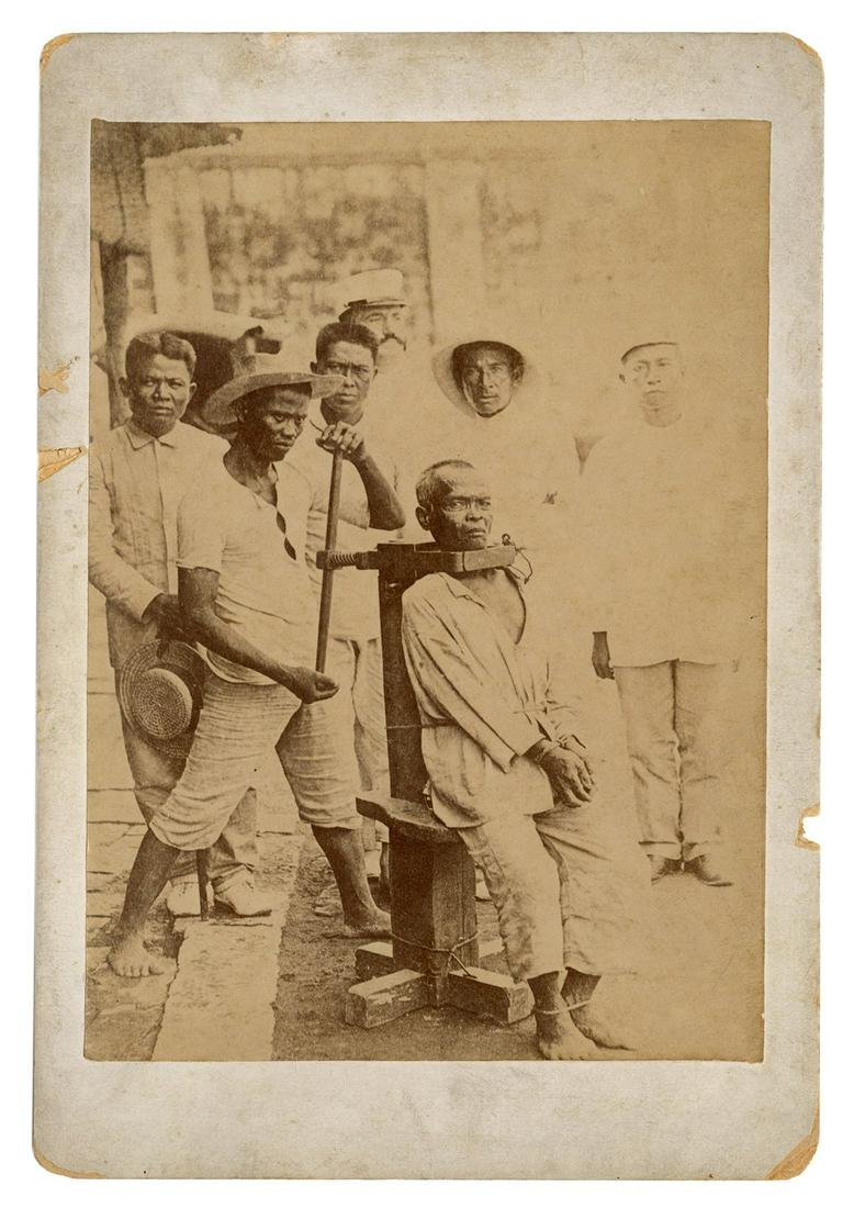 Cabinet Format Photograph of a Garroted Filipino Man.