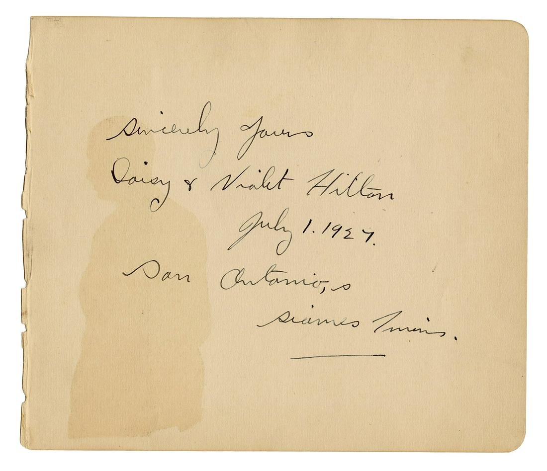 Daisy and Violet Hilton Inscription and Signatures.