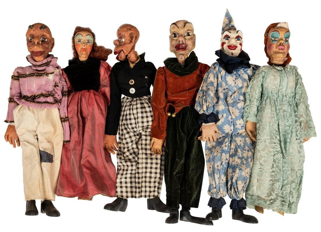 Group of Large Papier Mache Puppets. 6 pcs.
