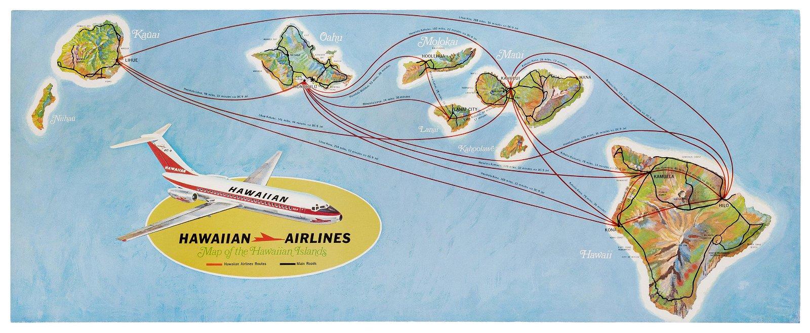 Hawaiian Airlines. Map of the Hawaiian Islands.