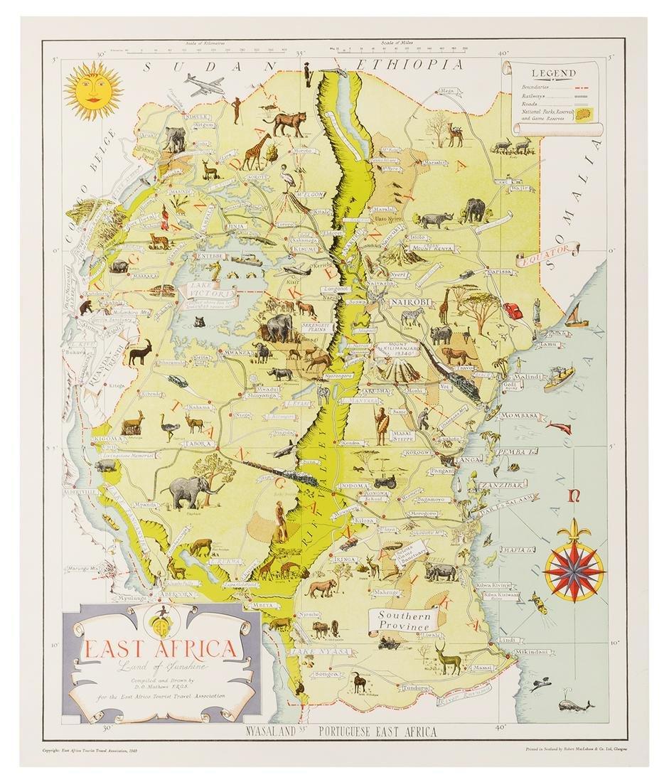 [Map] Mathews, D.O. East Africa. Land of Sunshine.
