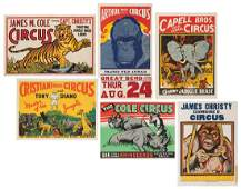 Group of 6 Jungle and Wild Animal Circus Posters.