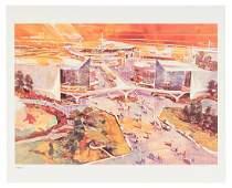 Tomorrowland 1967 concept art lithograph
