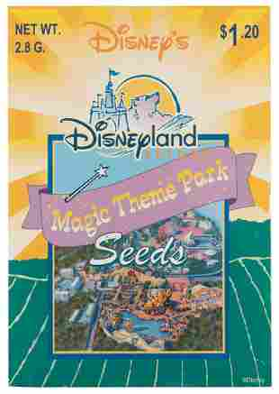 California Adventure seed packet opening cast sign