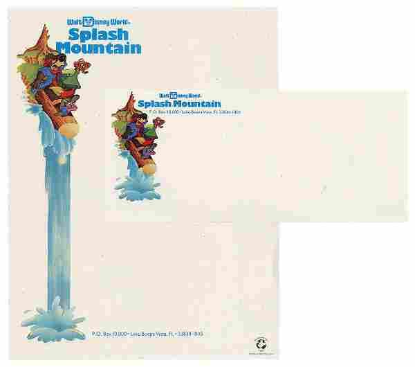 Splash Mountain at Walt Disney World Stationery.
