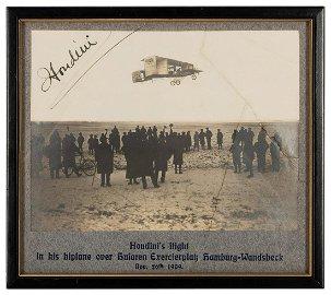 Houdini Signed Photograph Piloting Biplane Over