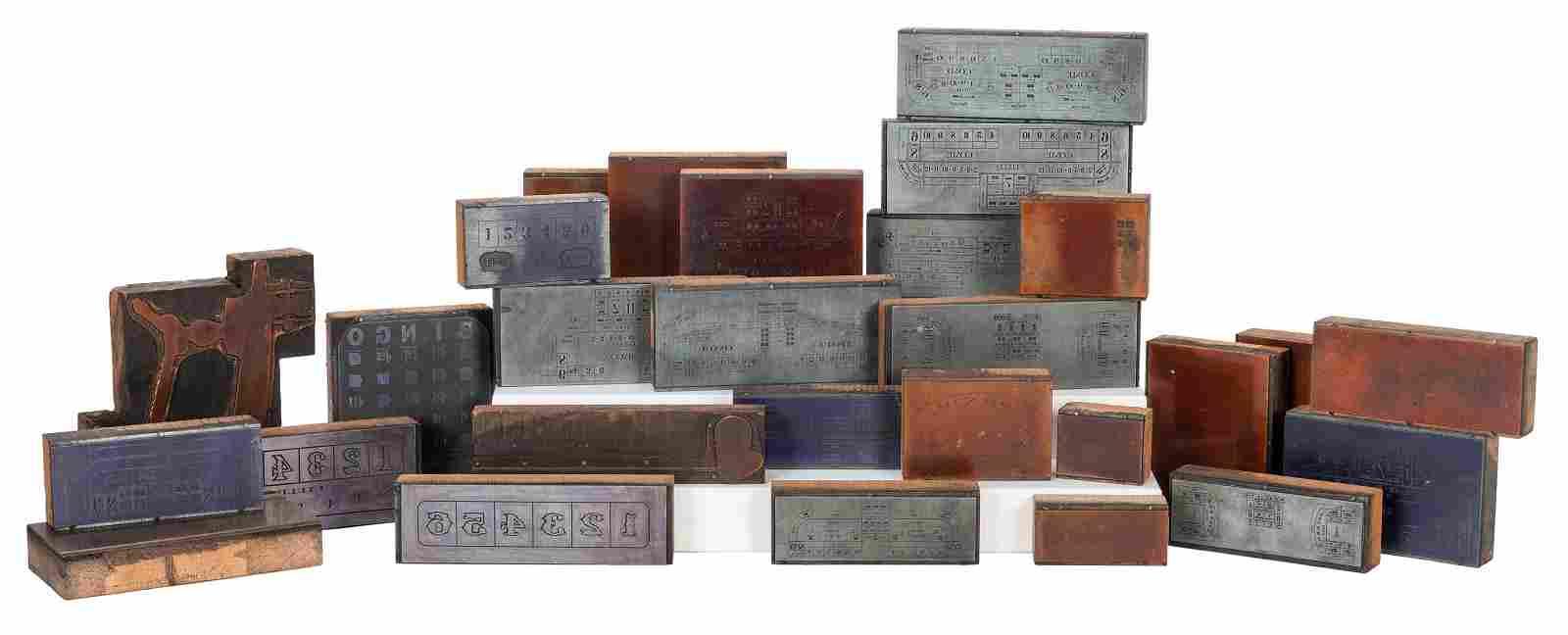 Lot of 36 Gambling Catalog Copper Printing Blocks.