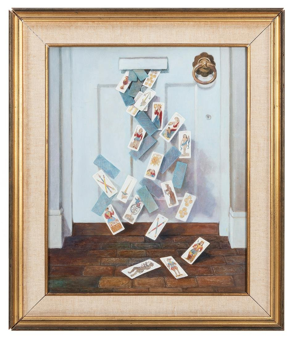 Oil Painting of Tarot Cards Tumbling Through a Mail