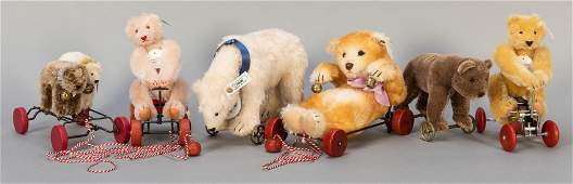 Steiff Wheel and Pull Toys. Lot of 6. Including Polar