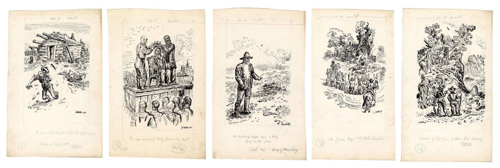 Western Themed Original Illustration Art. 1947. Five