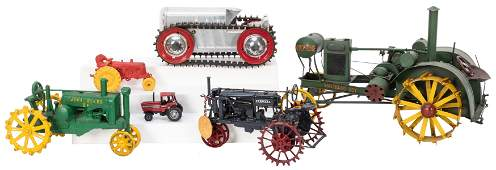 Group of Seven Toy Tractors Most vintage Consisting