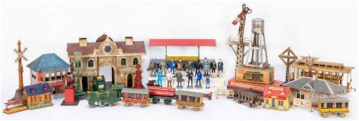 Large Group of Vintage Toy Train Cars and Accessories