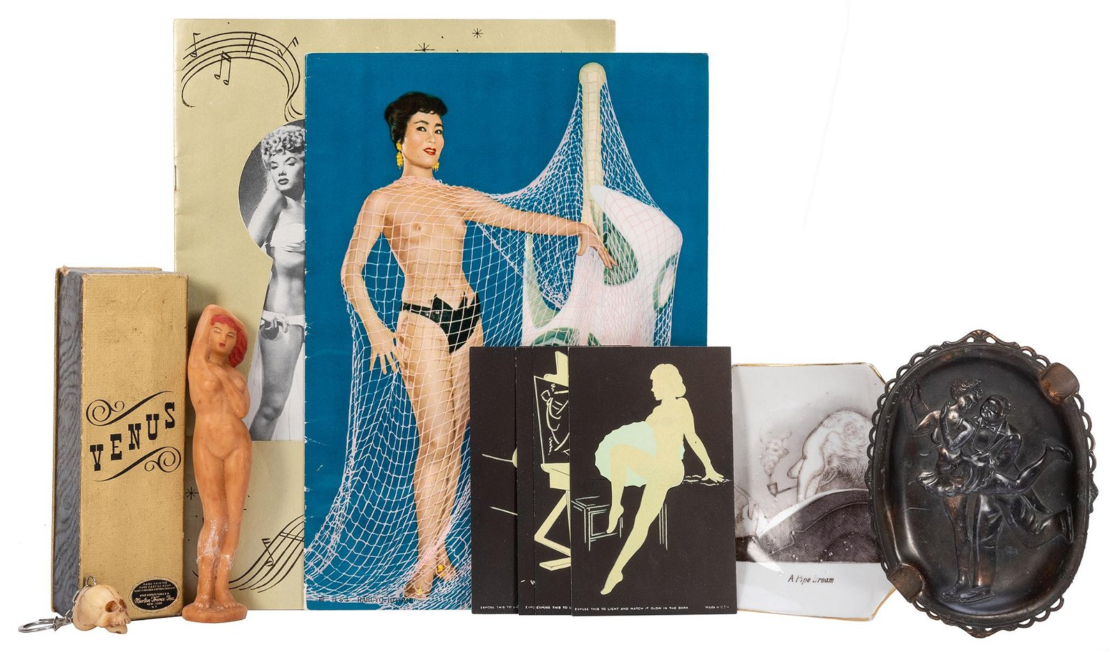 Pair of Erotic Astrays and Pin-Up Items. Including a