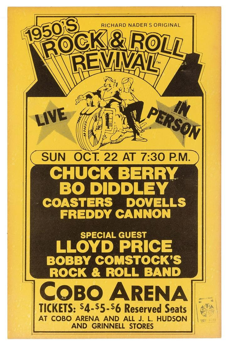 Chuck Berry and Bo Diddley Rock N Roll Concert Poster.