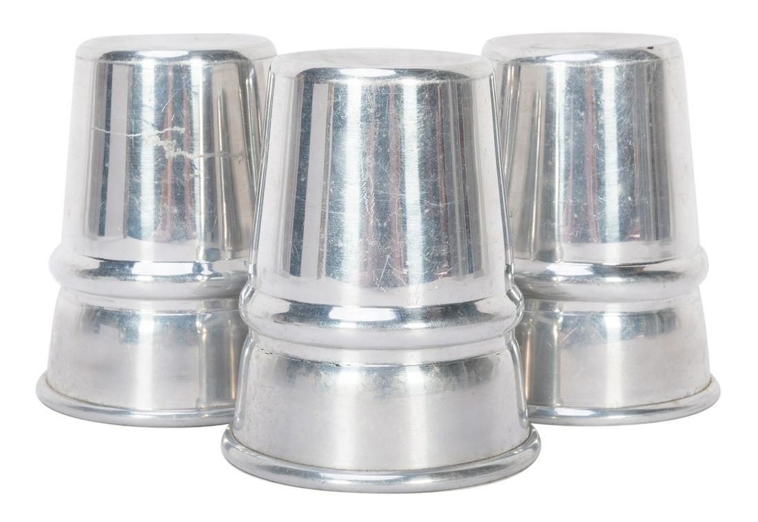 Traditional Aluminum Cups. Circa 1940. Large set of