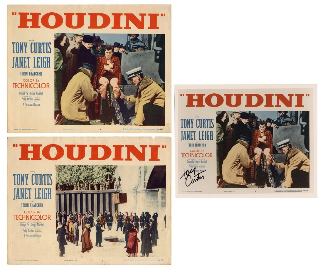 "[Houdini] Pair of ""Houdini"" Lobby Cards and Signed Tony"