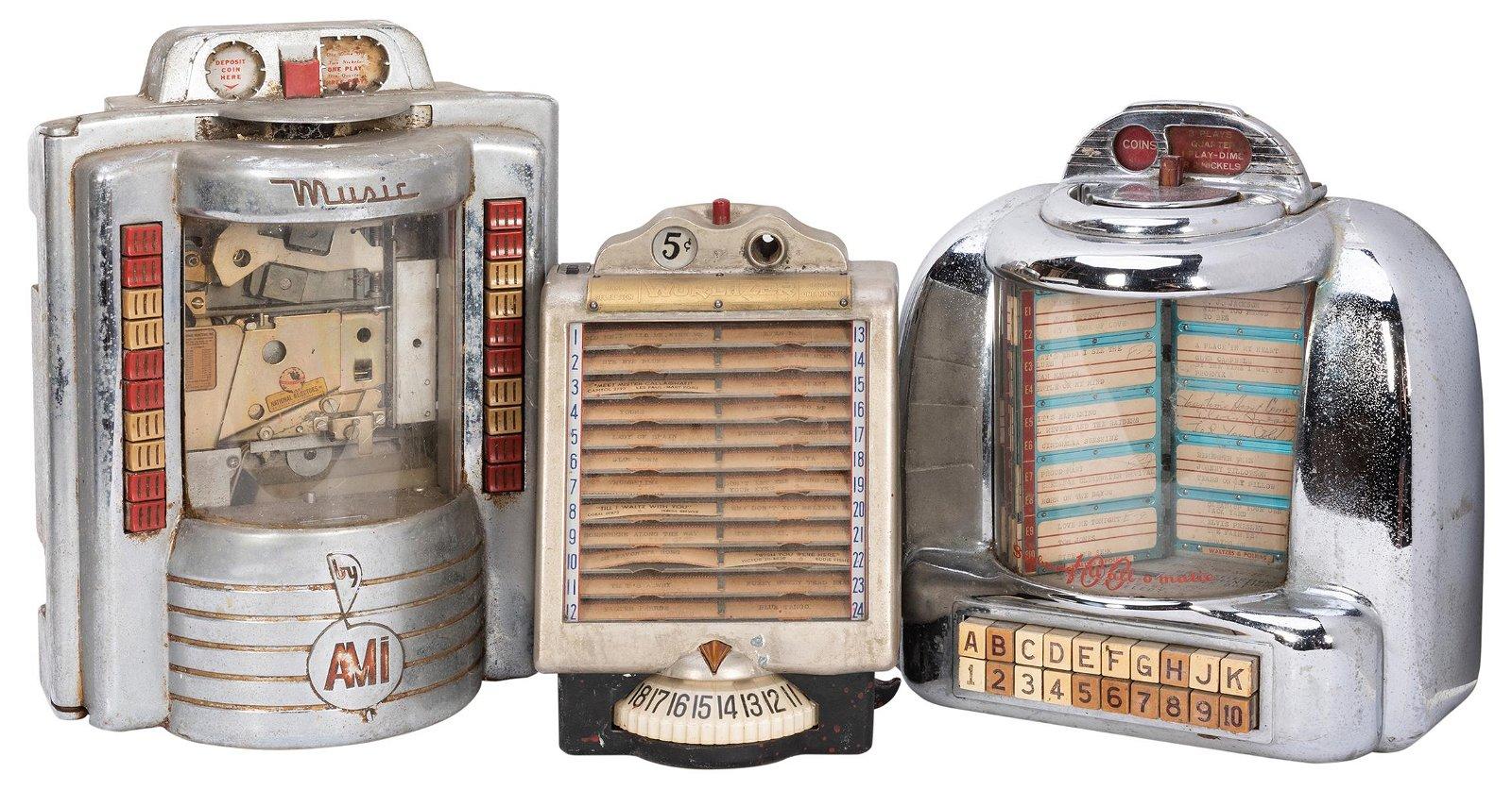 Three Wall Box Juke Box Record Selectors. Circa 1950s.