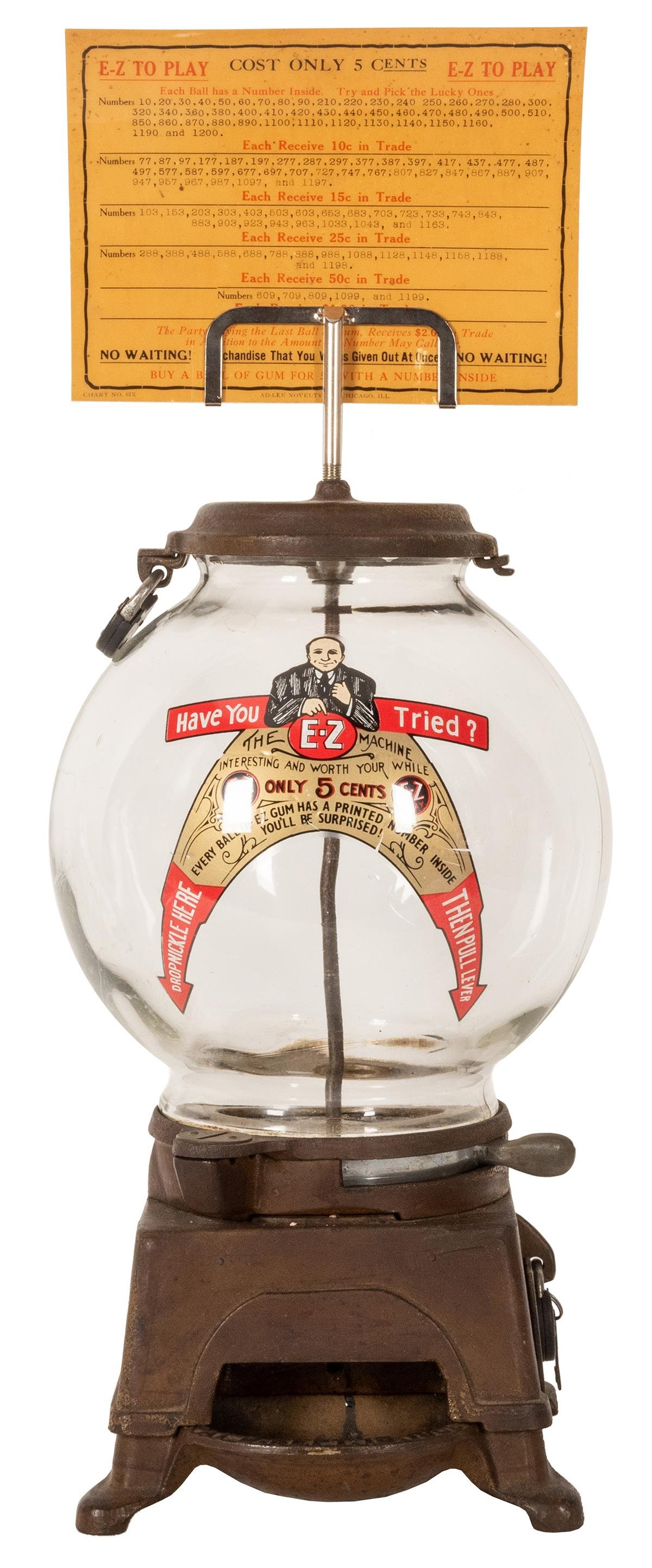 Ad-Lee Novelty Co. E-Z 5 Cent Gumball Machine. Chicago,