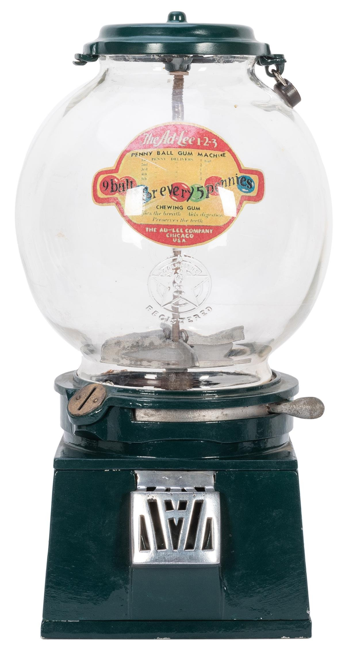 Ad-Lee Novelty Co. Model D 1 Cent Gumball Machine.