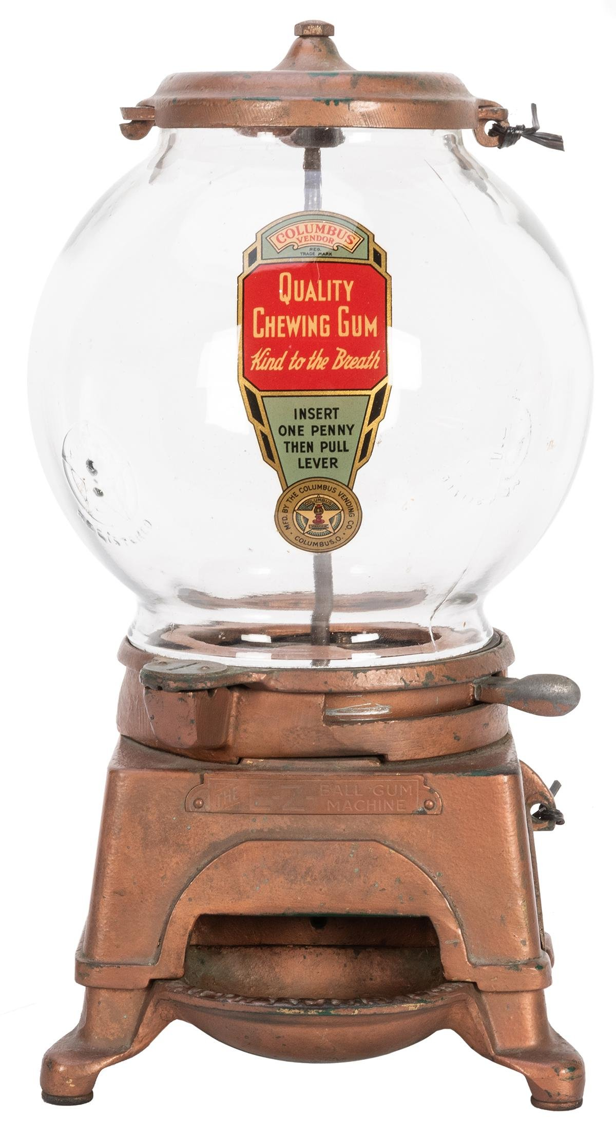 Ad-Lee Novelty Co. 5 Cent E-Z Gumball Vendor. Chicago,