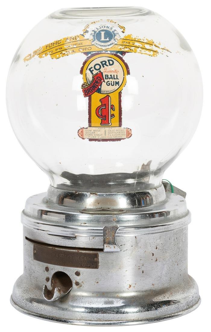 Ford Gum 1 Cent Gum Ball Machine. Ford Gum & Machine