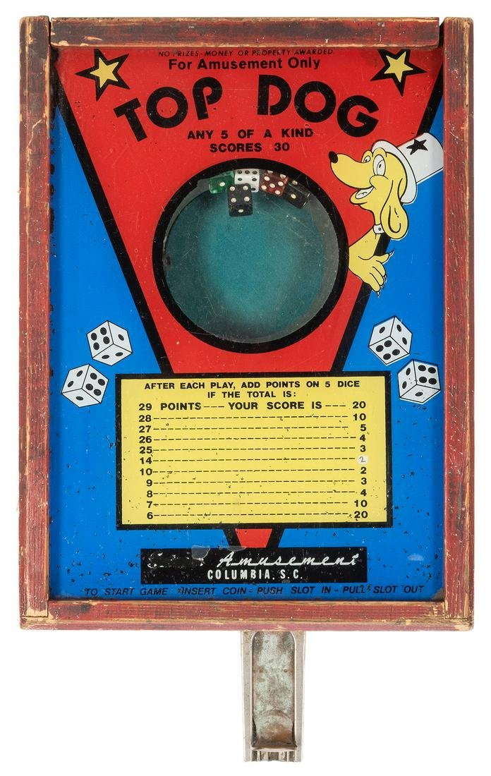 Top Dog Coin-Operated Dice Game.