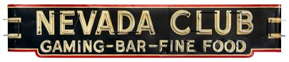 Nevada Club Casino Neon Sign. A very large and