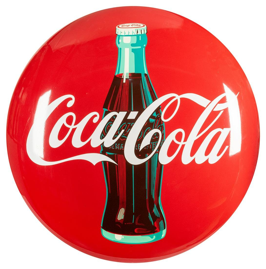 Large Coca-Cola Button Sign. Circa 1950s. New old stock
