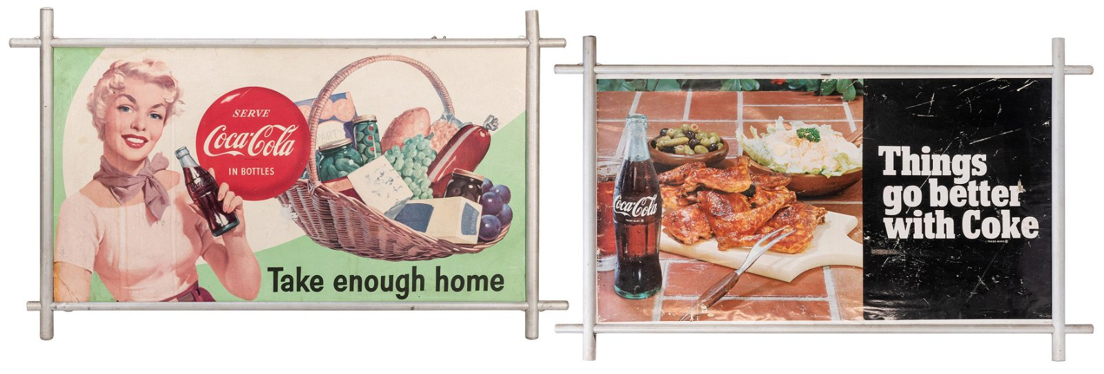 Pair of Coca-Cola Double Sided Advertising Signs. Circa