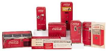 Six Coca-Cola Salesman Sample Coolers. 1950s. Miniature