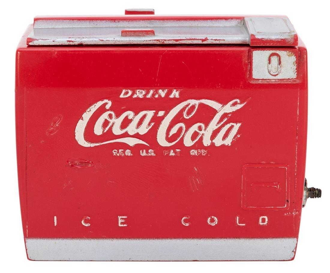 Miniature Coca-Cola Transistor Radio. Molded plastic,