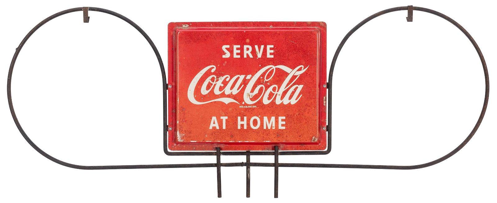 Serve Coca-Cola at Home Hanging Sign. Circa 1960.