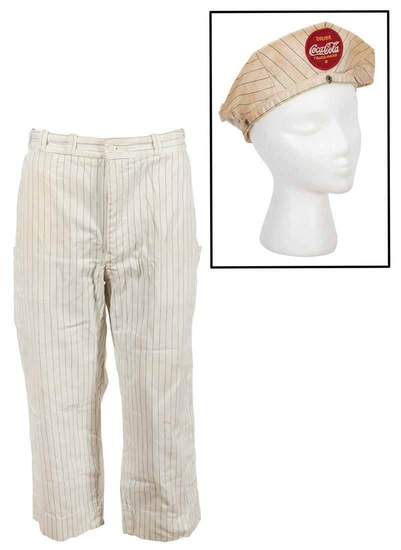 Coca-Cola Uniform Hat and Pants. Two mid-century soda