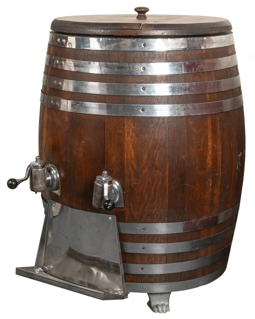 Large Root Beer Barrel Dispenser. Oak barrel with two