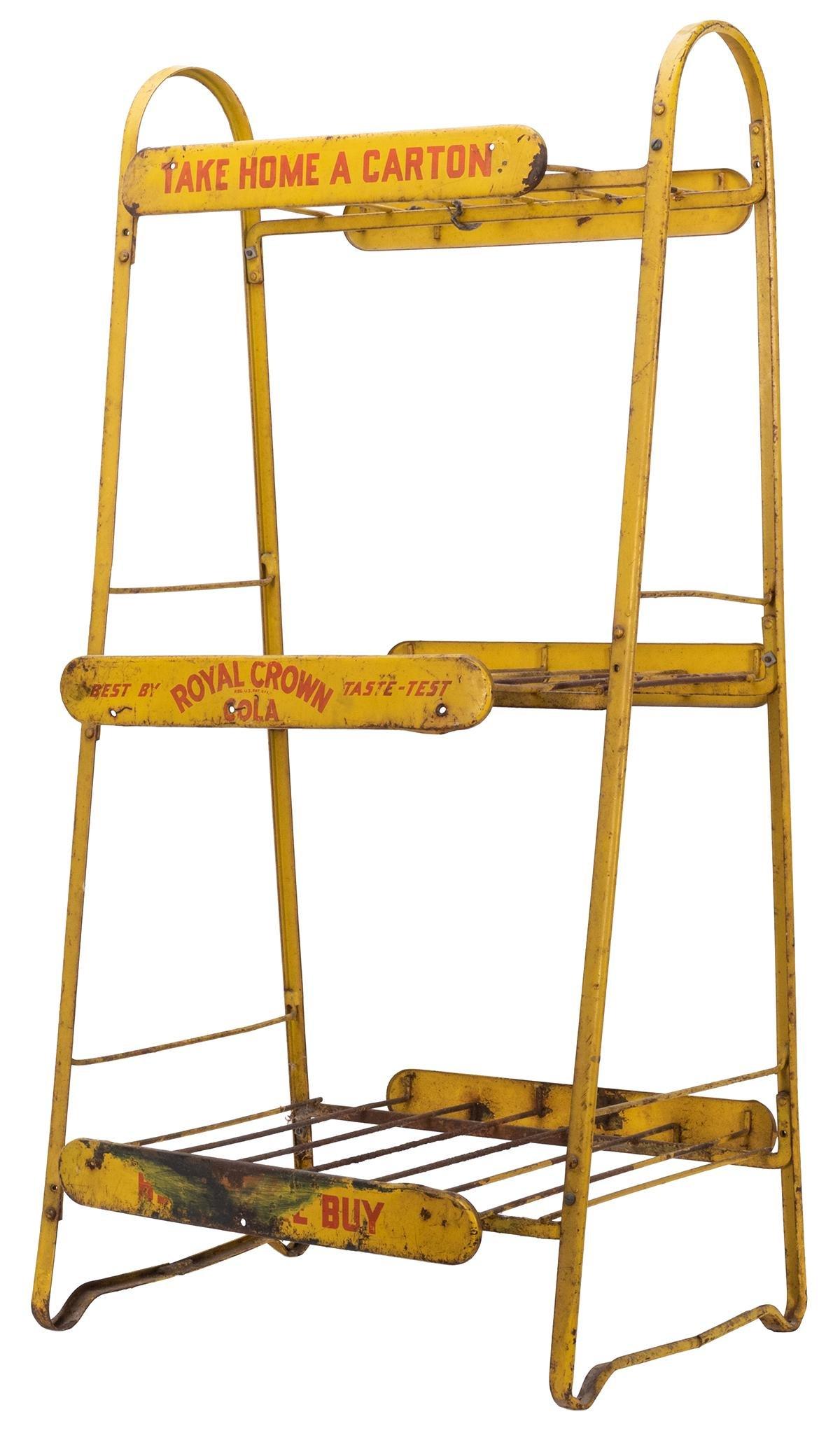 Royal Crown Cola Display Rack. Painted yellow metal