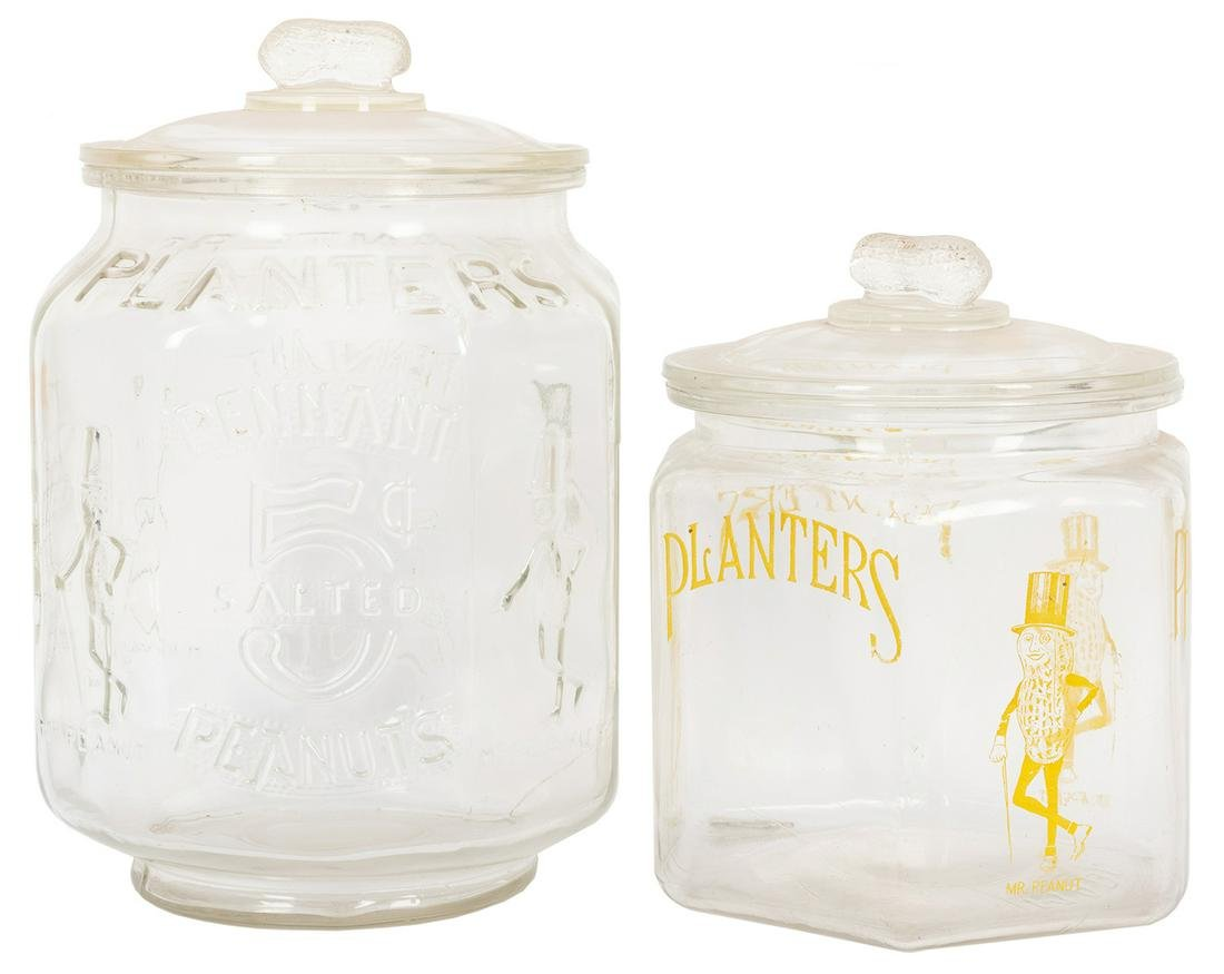 Pair of Planters Peanuts Jars and Lids. Colorless glass